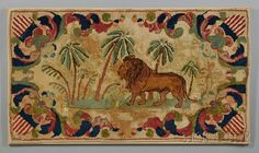 """""""FROST PATTERN"""" PICTORIAL HOOKED RUG WITH LION AND AMERICAN SHIELDS, DESIGN ATTRIBUTED TO EDWARD SANDS FROST (1843-1894), LYMAN, MAI... - Skinner Inc"""