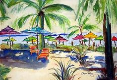NEW-Palm-Trees-on-Beach-Watercolor-Art-Prints-9-x-12-by-Artist-Seascape