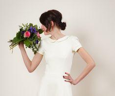 """Knielange Kleider - Brautkleid """"Julie"""" m. Spitzeneinsatz in cremeweiss - ein Designerstück von Jekyll-und-Kleid bei DaWanda"""