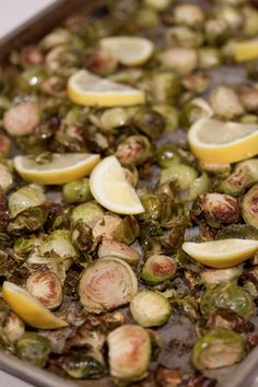Lemon roasted brussel sprouts - delicious if you don't really like the taste of brussel sprouts!    from: whatsgabycooking