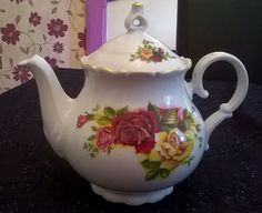 Lovely large  vintage china rose floral teapot