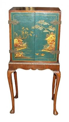 English Queen Anne Jewelry Cabinet with Chinoiserie