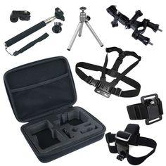 Go Pro Accessories Set GoPro Hero 5 4 Session 2 3 3+ Sjcam SJ4000 for xiaomi yi Eken H8 H9 H9R action camera Collection Bag Case