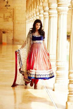 Wow. Now this, this is just so grand. Brilliant blue, pinks and reds. --- #indian #wedding #anarkali