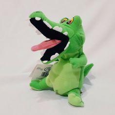 "Crock Mini Bean Bag Plush Disney Store Peter Pans Stuffed Animal 8"" Green Toy #Disney Doll Toys, Dolls, Green Toys, Mouth Open, Dinosaur Stuffed Animal, Stuffed Animals, Peter Pan, Plush, Disney"
