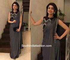 Pranita Subhash in Kalki Fashion photo Saree Designs Party Wear, Saree Blouse Designs, Party Wear Sarees, Dress Designs, Saree Draping Styles, Saree Styles, Drape Sarees, Stylish Sarees, Stylish Dresses