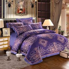 Update your bedroom in designer style with the vintage style luxury blue bedding sets. Give your bedroom a chic, sassy upgrade with the luxury blue bedding sets. Gold Bedding Sets, Bedding And Curtain Sets, Best Bedding Sets, Purple Bedding, Bedding Sets Online, Luxury Bedding Sets, Queen Size Bedding, Bedroom Sets, Curtains