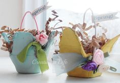 Spring! Egg Carton Mini Baskets