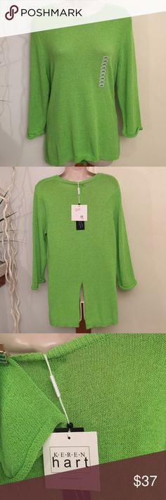 """NEW...Keren Hart Hi-Low Lime Top ---  Hi-Low Top, 3-4 length Sleeve Rolled & Stitched.  Ribbed, Round Neckline ( see photo 3 for sleeve & neckline ).  Slit ( 8"""" ) in the back.        ---  77% Acrylic, 23% Nylon Keren Hart Tops"""