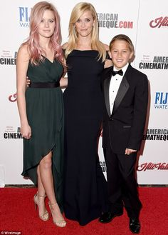 Growing up: Reese posed with her children Ava and Deacon at the 29th American Cinematheque Awards on October 30