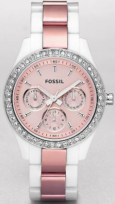 Fossil Stella Multifunction Pink Dial Watch $55.95. Super cute. Want this.