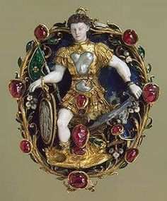 Pendant: Mars Gold, silver, lapis lazuli, opal, rubies, pearls, chalcedony; carved, chased, polished and enamelled.  France.  Mid-16th century