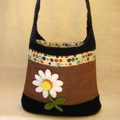 Crochet Tote with Daisy on it.