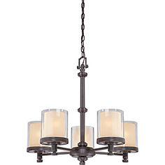 Decker Bronze with Clear/ Cream 5-light Chandelier - Overstock™ Shopping - Great Deals on Nuvo Lighting Chandeliers & Pendants