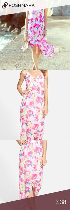 Lush Maxi Dress Pink Floral Tulip Hem New Small S So gorgeous! Brand new with tags. Size small. Lush Dresses Maxi