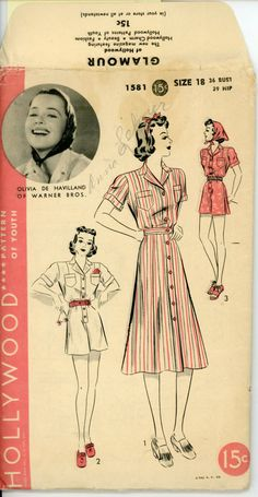 Hollywood 1581 Misses 1930s Playsuit Pattern Olivia De Havilland One Piece Playsuit and Skirt Womens Vintage Sewing Pattern Bust 36 UNCUT. $42.00, via Etsy.