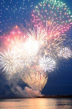 Fireworks light up Littlehaven harbour, South Shields.