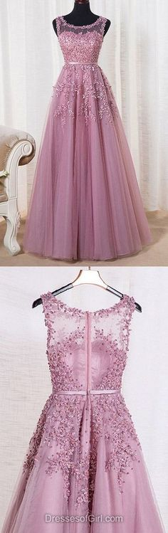 A-line Scoop Neck Tulle Floor-length Appliques Lace Graceful Prom Dress,322