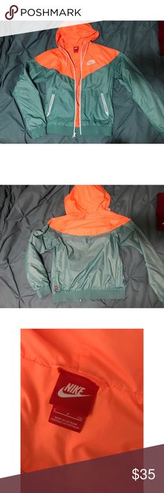 Nike Track Jacket I love this jacket 😍 Unfortunately it's just too small for me to zip up over my chest :( Teal blue and fluorescent orange color with white detailed zippers and logo. Only worn a few times, size small.  Pet free and smoke free home. Please ask any questions or let me know if you'd like to see any other photos! Nike Jackets & Coats