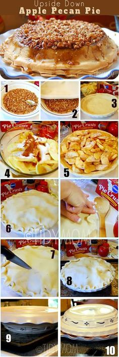 Knock their socks off with this Upside-Down Apple Pecan Pie - so delicious you'll never eat a traditional apple pie again! This  self-glazing, award winning pie is sure to please any crowd. If you like pecan pie and apple pie, you're going to want this apple pie recipe at http://TidyMom.net