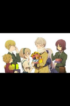 This is the soviet union, Estonia( glasses) Latvia(in red in front of Estonia) Ukraine( in front of Latvia) Russia(in middle. Holding all the presents.) Belarus(holding onto Russia.) Lithuania(patting Belarus on the head.) They are soo cute!