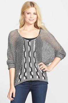 Two-Tone Dolman Sleeve Sweater