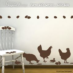 Life size chicken wall decals turn your room into a farm barnyard! Individual eggs make a fun border. $29.00, via Etsy.