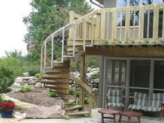 Wooden staircase with railing