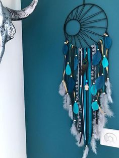 12 wonderful ways to have fun with a unicorn dream catcher . - 12 wonderful ways to have fun with a unicorn dream catcher …… – # Unicorn dream c - Dreamcatchers, Moon Dreamcatcher, Dream Catcher Decor, Black Dream Catcher, Dream Catcher Tutorial, Diy And Crafts, Arts And Crafts, Diy Tumblr, Teal And Grey