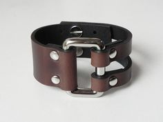 Brown Leather Cuff Leather Bracelet with Rectangle Metal on Etsy, $14.13 CAD