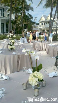 potted orchid centerpieces for weddings | Potted orchids, hydrangea and mercury glass votives for these ...