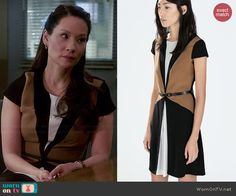 Joan's brown colorblock dress on Elementary.  Outfit Details: http://wornontv.net/45309/ #Elementary