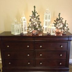 Christmas decor on bedroom dresser