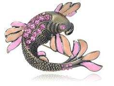 Fuchsia Rose Pink Crystal Rhinestone Enamel Koi Carp Fish Fashion Pin Brooch Alilang. Save 23 Off!. $9.99