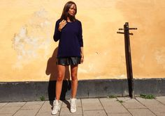 knit from Whyred, leather shorts from H and sneakers from Topshop.