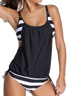 Lined Up Double Up Blouson Tankini on sale, free shipping!