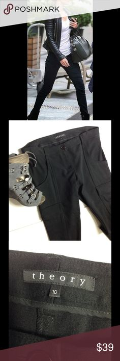 """Theory ⚜ Skinny Cargo Style Trending Black Skinny Theory Skinny / Leggings, Used in Good Condition, Waist 34"""", Inseam 33, Front Rise 9"""", Back Rise 15"""" Theory Pants Skinny"""