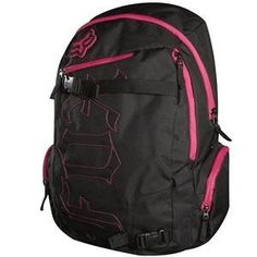 """Fox Racing Women's Born Free Backpack - Fuchsia by Fox Racing. Save 23 Off!. $37.99. Fox Racing Womens Born Free Backpack Throw your stuff in, strap your board in, and you and your Fox Born Free Backpack are good to go Large main and back compartmentZip side compartmentsSkateboard straps19.25"""" x 11.5"""" x 9""""49cm x 29.2cm x 22.8cm100% PolyesterCloseouts are limited to stock on hand"""