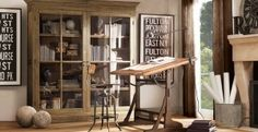 Vintage Toledo Chair and French drafting table at Restoration Hardware by HamsterHuey