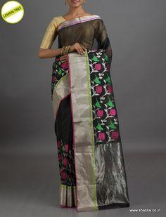 Lemon Tree Designer Lotus and Parrot #ChanderiSilkSaree