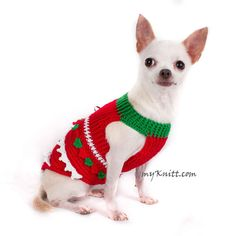 Cute Christmas dog costumes handmade crocheted with unique pattern of Christmas tree. It is a new and original designs from Myknitt designer dogs. Perfects for a Christmas gift for your little furry friends. Comfortable to wear everyday. Any custom dog clothes are welcome.  This listing is for handmade dog clothes DF1 in size XXS. Length:8 Fits neck:8 Fits chest:10 Please kindly check your pets measurements with my pattern size chart to make sure the item fits before ordering.  If you need…