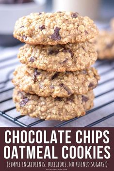 Chocolate Chip Oatmeal Cookies are sure to please the whole family! 🍪🍪🍪 Chewy, yet light, filled with dark chocolate chips, these cookies are addictive. + Super easy to make, you only need a few simple pantry ingredients. ++ They are WHOLESOME, made without refined sugars and loaded with healthy OATS! --------- #oats #oatmeal #oatmealcookies #cookies #chocolatechips #darkchocolate #healthy #healthycookies #healthysnack #snack #backtoschool #kidssnack #easy Easy Gluten Free Desserts, Easy Cookie Recipes, Tart Recipes, Baking Recipes, Dessert Recipes, Snacks Recipes, Health Recipes, Easy Desserts, Sweet Recipes