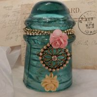Vintage Aqua Glass Insulator with Ball Chain, Rhinestones, and Roses