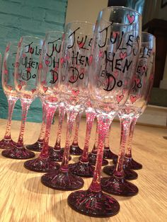 Hen Do Glasses - Hen Party Glasses - Pink Hearts Hand painted to order £4.00 each