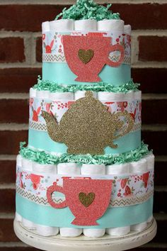 #ad - 3 Tier Shabby Chic Tea Party Diaper Cake Peach Coral Mint
