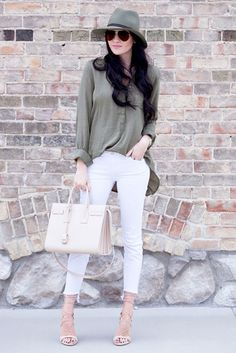 spring outfit, summer outfit, spring fashion, summer fashion, street style, street chic style, casual outfit, party outfit - olive fedora, olive shirt, white skinny jeans, nude heeled sandals, nude handbag, aviator sunglasses