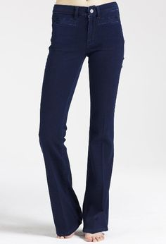 The MiH Jeans Marrakesh in Hutton - a flare jean in the perfect dark blue.