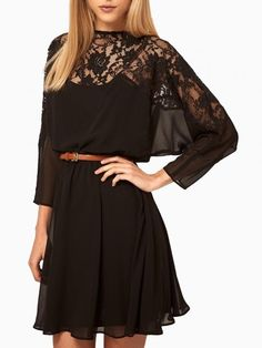 Black Chiffon Relaxed Dress with Contrast Lace Panel