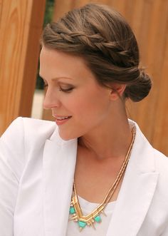 Braided hairstyles like this one are perfect for keeping the hair out of your face while busy at work.