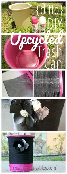 ditto DIY Upcycled Trash Can ~ Creative Savings Diy Projects Small, Craft Projects, Projects To Try, Craft Ideas, Cute Crafts, Diy And Crafts, Painted Trash Cans, Diy Recycle, Reuse